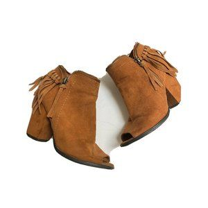 DV By Dolce Vita Fringe Booties Brown EUC Size 7